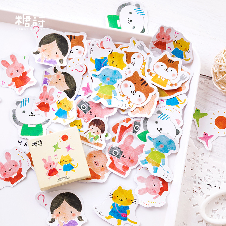 Friend Cat Rabbit Pig Bullet Journal Cartoon Decorative Stickers Adhesive Stickers DIY Decoration Diary Stickers Box Package