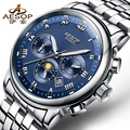 AESOP 9016 Switzerland watches men luxury brand Multifunction automatic self-wind daydate Moon phases blue stainless steel