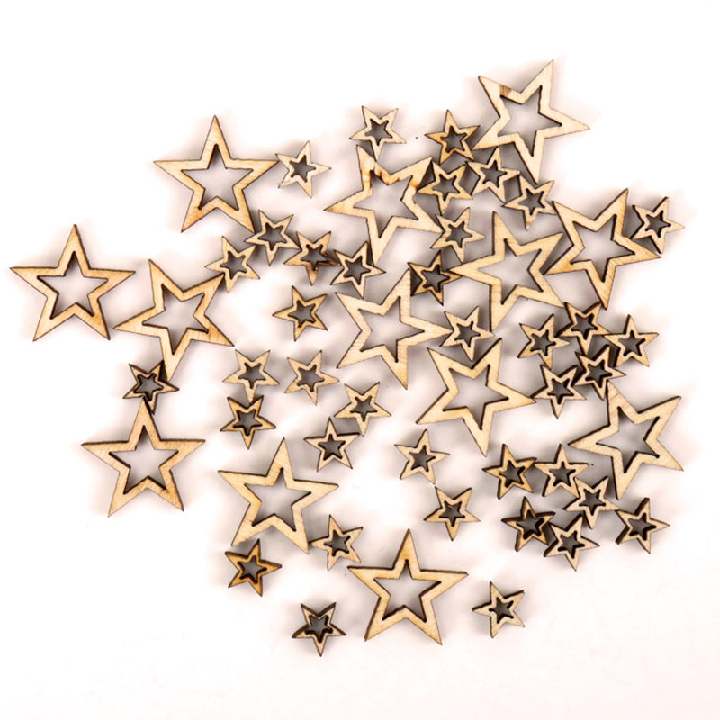 Wooden Hollow Star Shape Scrapbooking Embellishments Craft Handmade Home Wedding Decoration Accessory DIY 10-20mm 50pcs