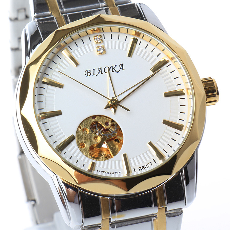 2016 New Gold Men s Skeleton WristWatch Stainless steel Antique waterproof Casual Automatic Skeleton Mechanical Watches