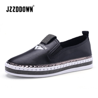JZZDDOWN Genuine Leather Slip on White Flat Sneakers Women Soft Spring Ladies Leather Shoes Casual Women Shoes Slipony Women