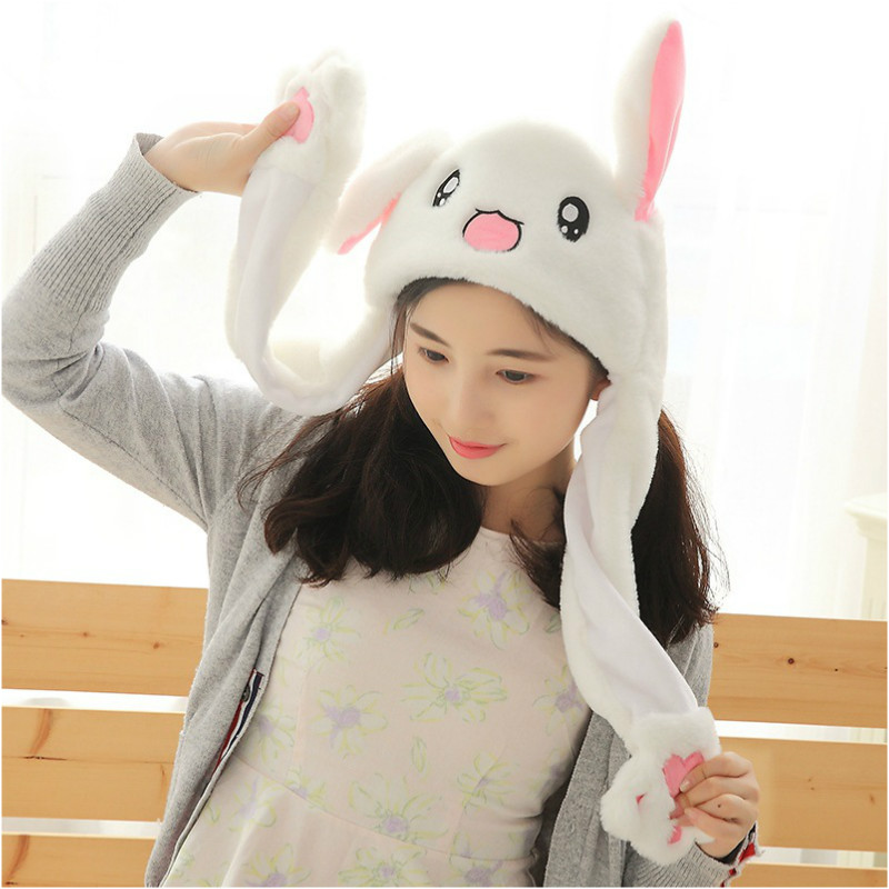 Plush Move Ear Rabbit Hat Funny Hand Pinching Ear To Move Airbag Vertical Ears Cap Girl Women Party Creative Gift Kids Plush Toy