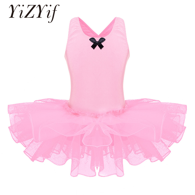 YiZYiF Girls Ballet Tutu Dress Children Dance Costumes Sleeveless Flower Petal Shaped Back Ballet Dance Gymnastics Leotard Dress