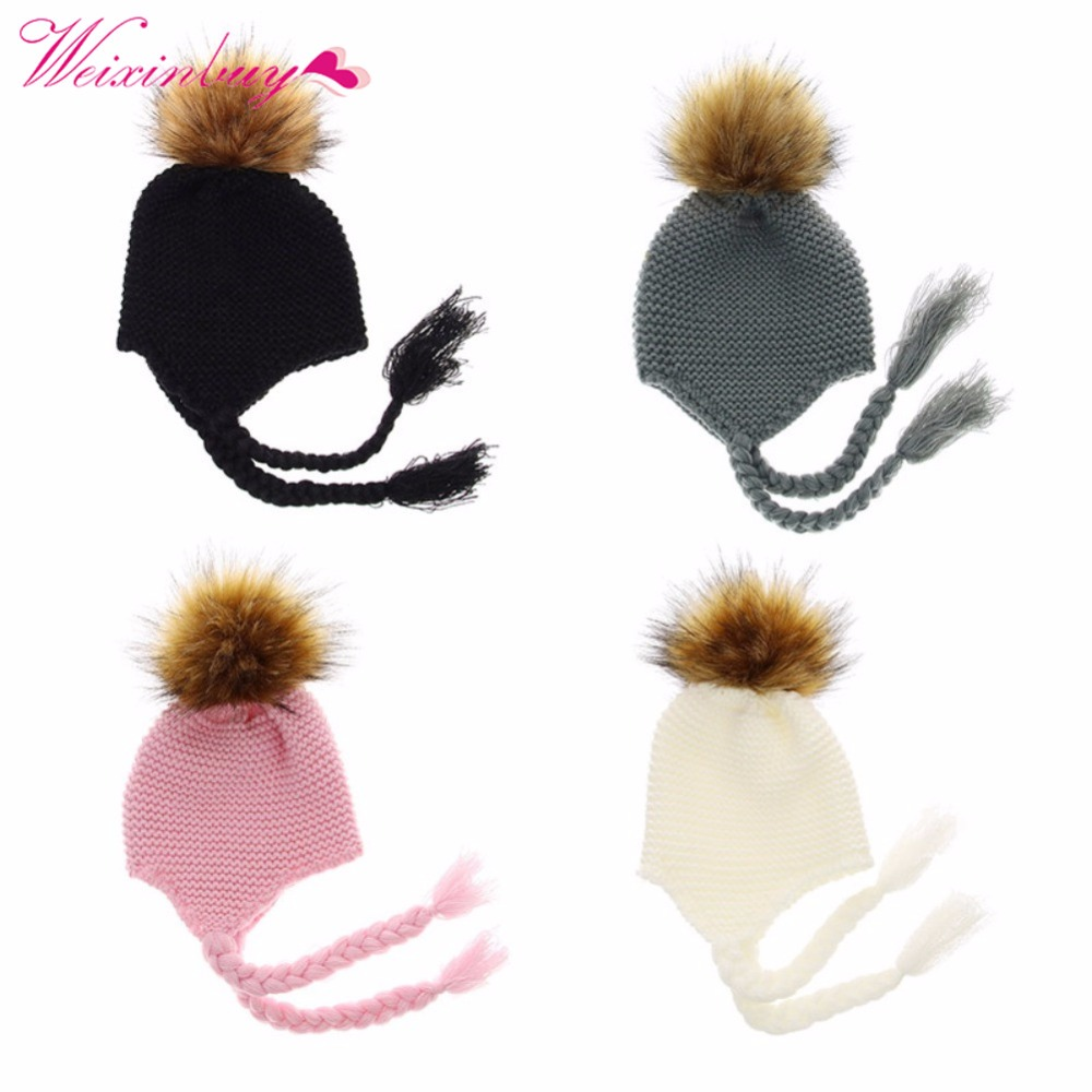2018 Warm Children Cap Knit Cotton Baby Hat With Pompom For Winter Fur Hats Kids Ears Beanie Thick 0-2 Years