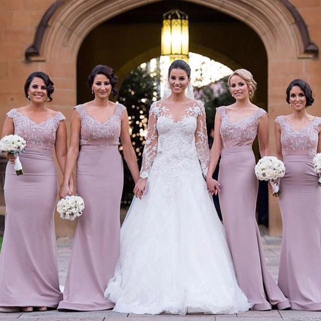 72dc12bba0 Plus Tamaño Vestido de Dama Lila Apliques Sirena Largos vestidos de Partido  Púrpura de la Boda
