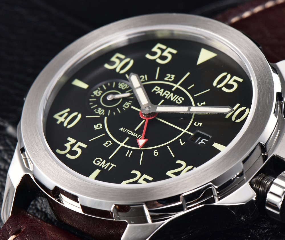 Casual Mechanical Watch Parnis 44mm Newest Tourbillon GMT Automatic Watch Waterproof Mechanical Wrist Watch Montre Homme