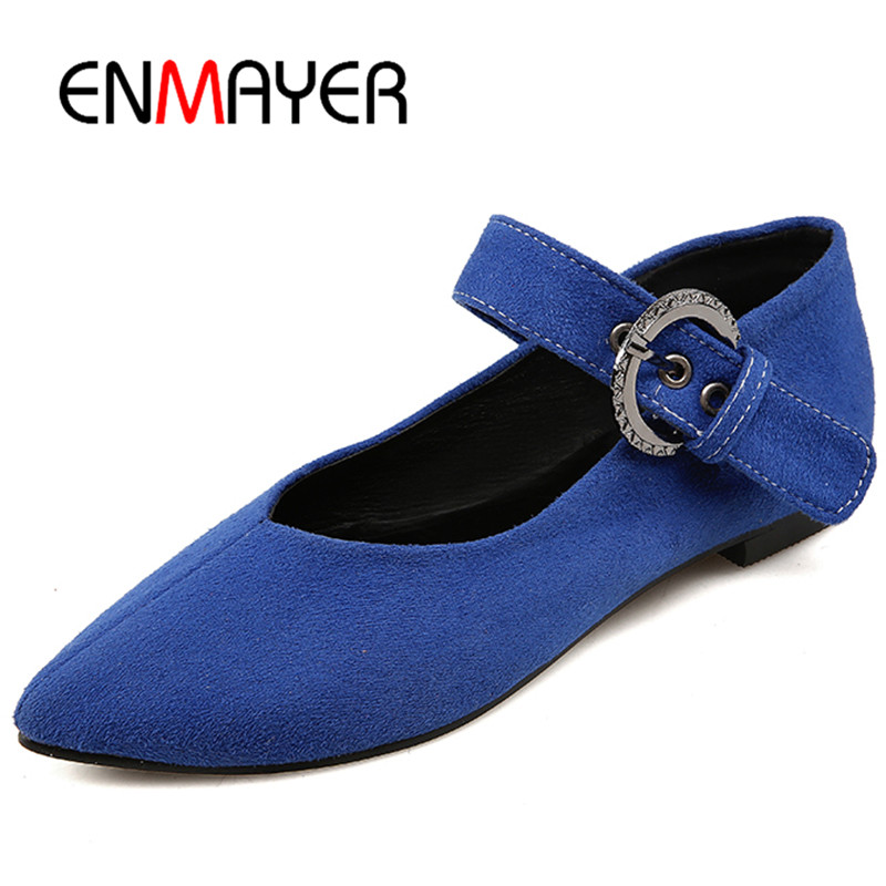 ENMAYER Buckle Strap Pointed Toe Flats Shoes Woman White Shoes in Womens Plus Size 34-47 Shallow Mary Janes Flats Casual Shoes enmayer pointed toe summer shallow flats slip on luxury brand shoes women plus size 35 46 beige black flats shoe womens