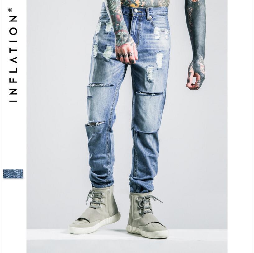 Good Quality Men s Street Fashion Holes Jeans New Male Cotton Light Blue Tassel Slim Full