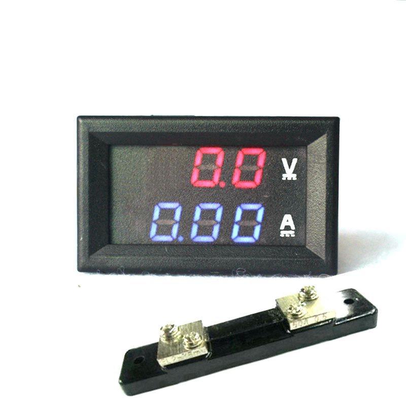 "2 en 1 DC Volt Amp Medidor de pantalla dual 0.28 ""DC 0-100V / 50A 100A Rojo Azul Voltímetro digital Amperímetro con amperios Shunt"
