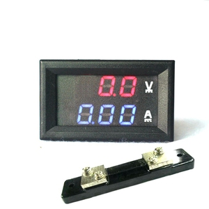 "2 in 1 DC Volt Amp Dual display Meter 0.28"" DC 0-100V/50A Red Blue Digital Voltmeter Ammeter With Ampere Shunt"