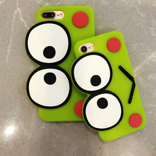 455 Aliexpresscom Comprar Caliente Dibujos Animados Ojos Grandes Ranas Verdes Caja Suave Del Silicio Para Iphone 7 Caso 7 Más Cubierta Para
