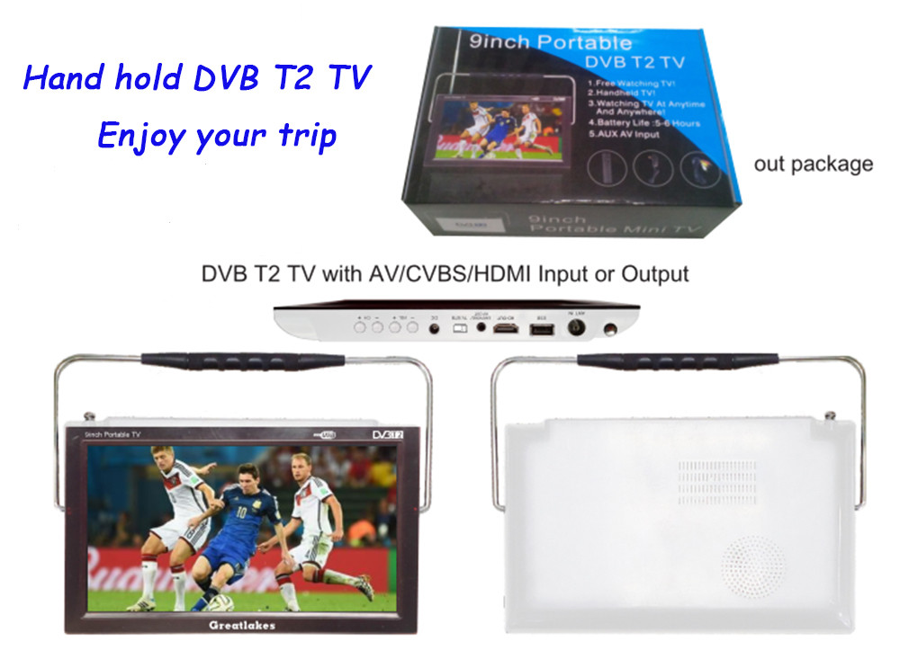 Free shipping excellent 12v LED portable digital tvs