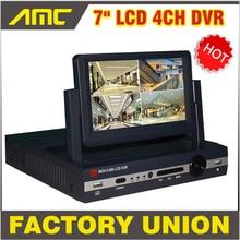 7 inch LCD Monitor DVR four channel D1 stand alone cctv dvr 4CH DVR recorder video surveillance cctv system