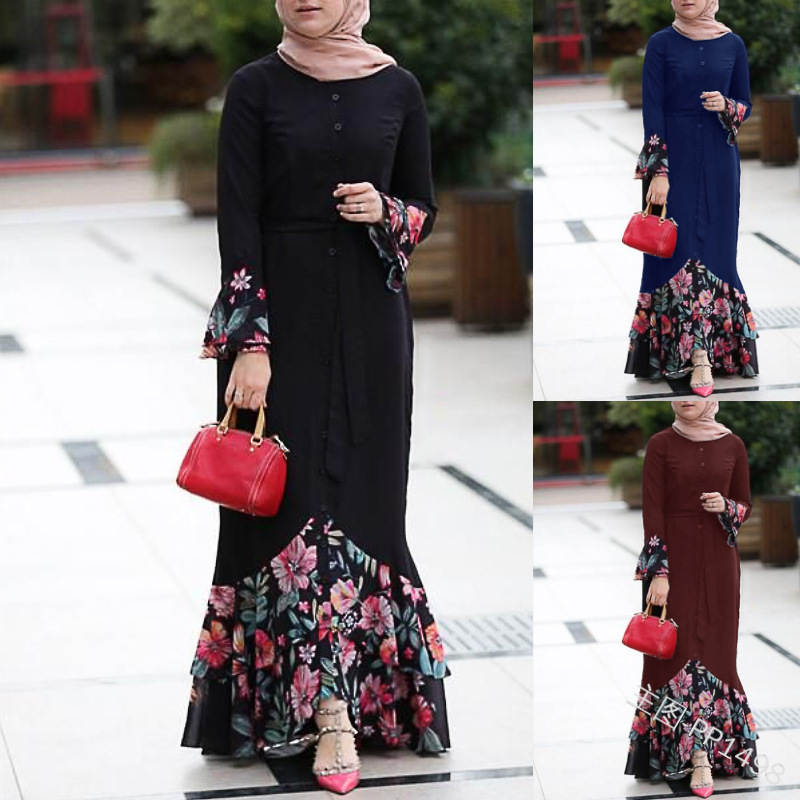 WEPBEL Women Floral Dress Patchwork Flower Full Sleeve Summer Loose Plus Size New Casual Fashion Ladies Dresses
