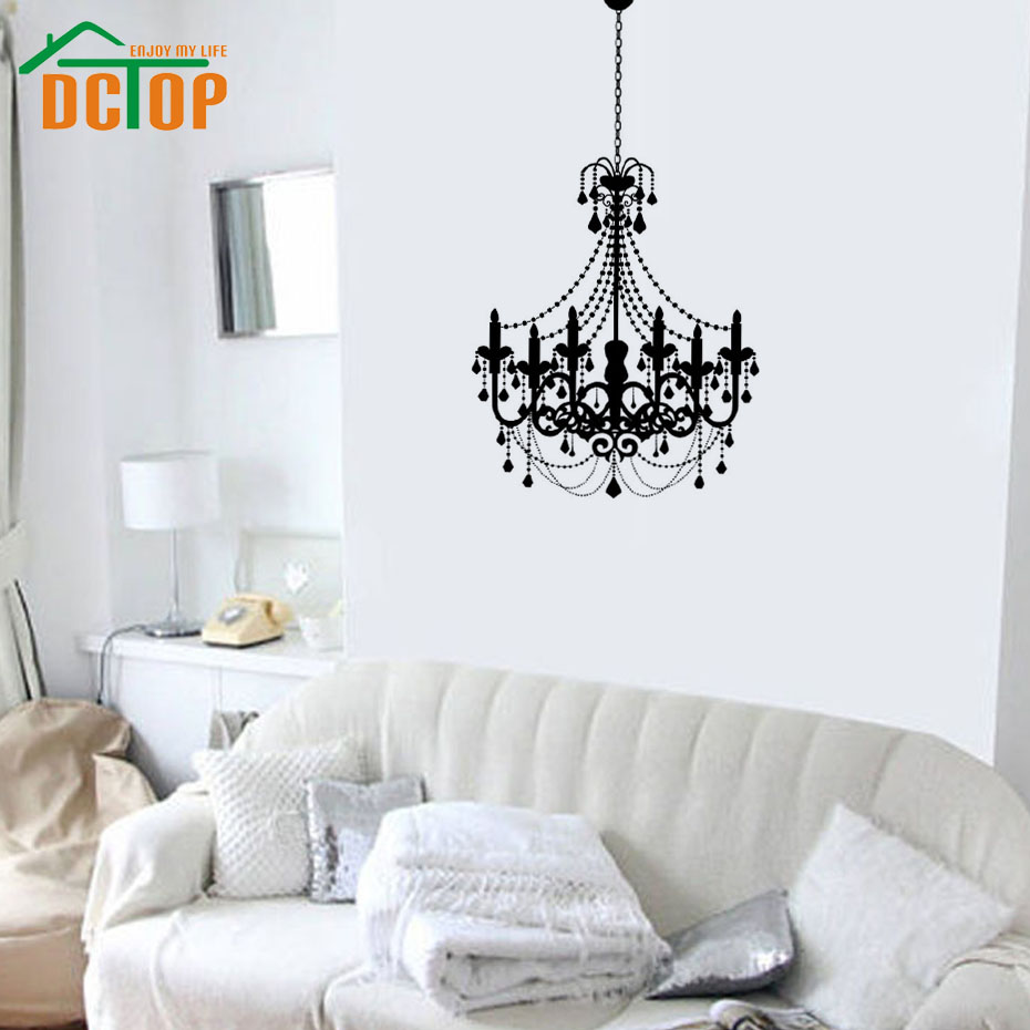 Old fashioned candle chandelier wall sticker white exquisite pvc old fashioned candle chandelier wall sticker white exquisite pvc waterproof home decor for living room in wall stickers from home garden on aliexpress arubaitofo Gallery