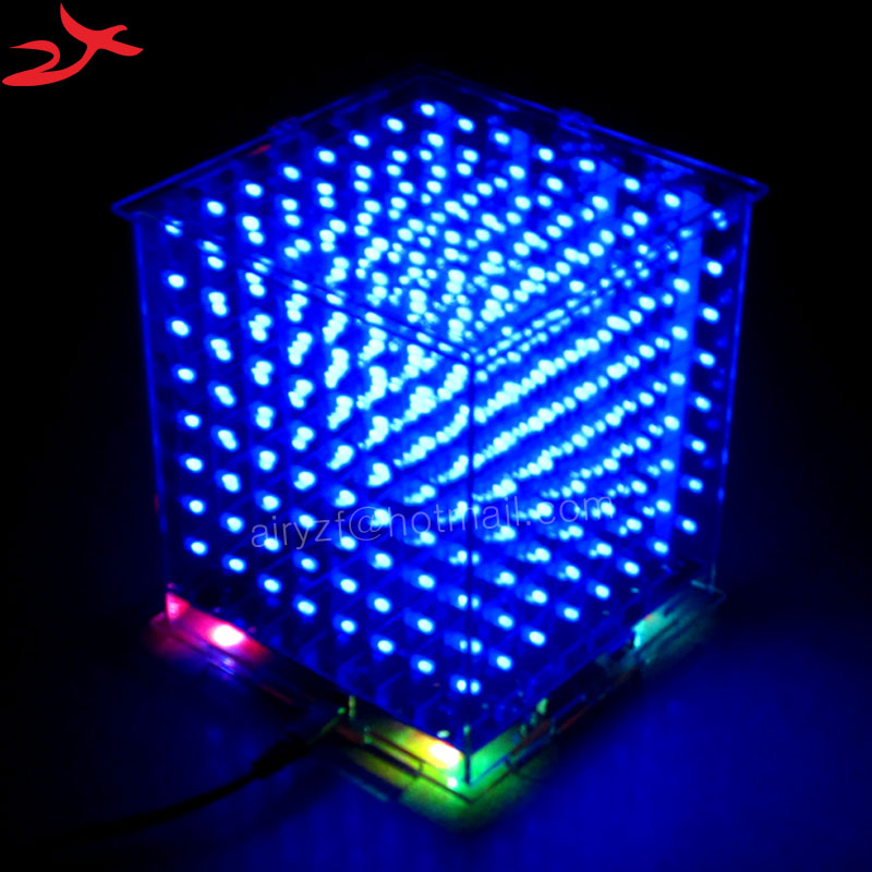 Hot sale 3D 8S 8x8x8 mini led electronic light cubeeds diy kit for Christmas Gift New