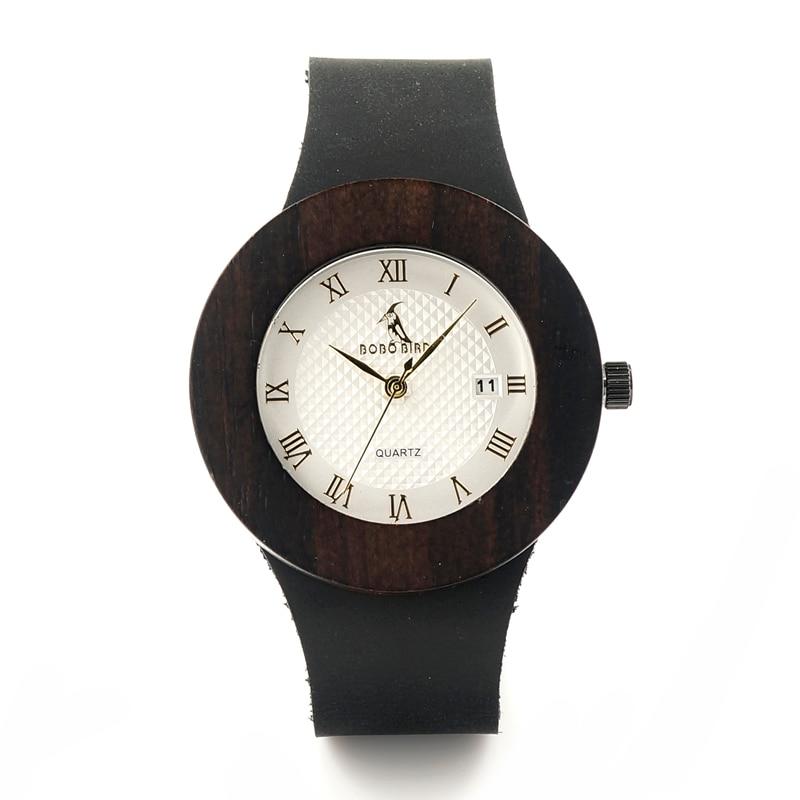 BOBO BIRD Natural Ebony Sandwood Wooden Men s Black Round Genuine Leather Watches Luxuly Women s
