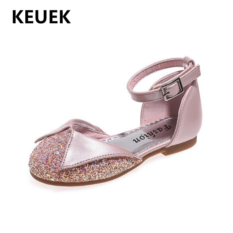 New Spring/Summer Children Dance Shoes Girls Baby Low heeled Pink Glitter Princess Shoes Student Party Leather Shoes Kids 02|Leather Shoes| |  - title=