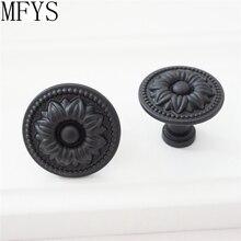Shabby Chic Knobs Cabinet Dresser Knob Pull Drawer  Handles Black Kitchen Door Handle Furniture Ornate Decorative Hardware