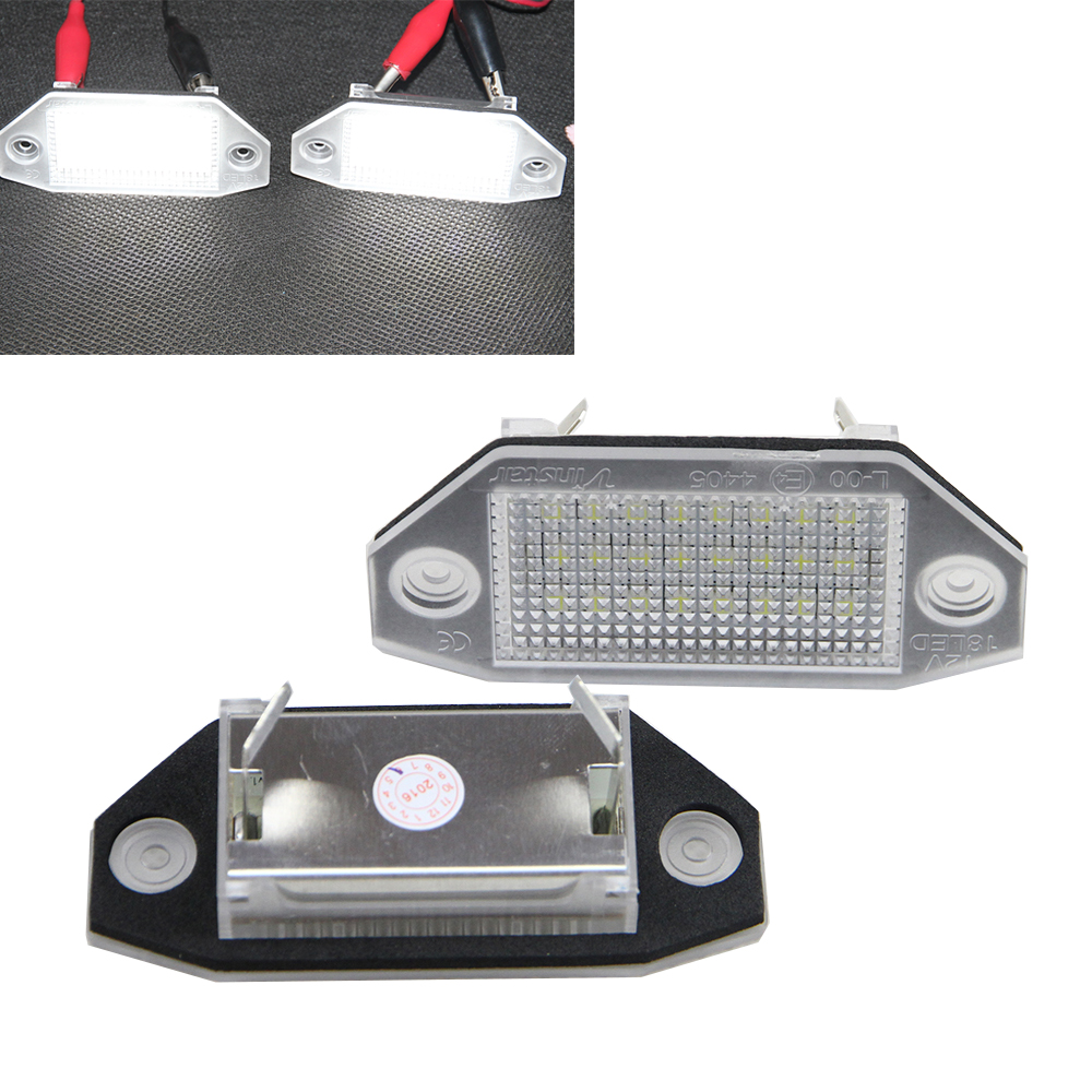 2pcs Error Free 24 LED Number License Plate Light Interior Light for Ford Mondeo MKIII MK3 2000-2007 4D/5D Auto White 7000K 1pair license number plate light 18led lamps replace for ford mondeo focus 5d canbus d2tb
