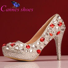 rhinestone Wedding shoes pumps high heels for women red and white crystal big high-heeled shoes pointed toe platform heels shoes