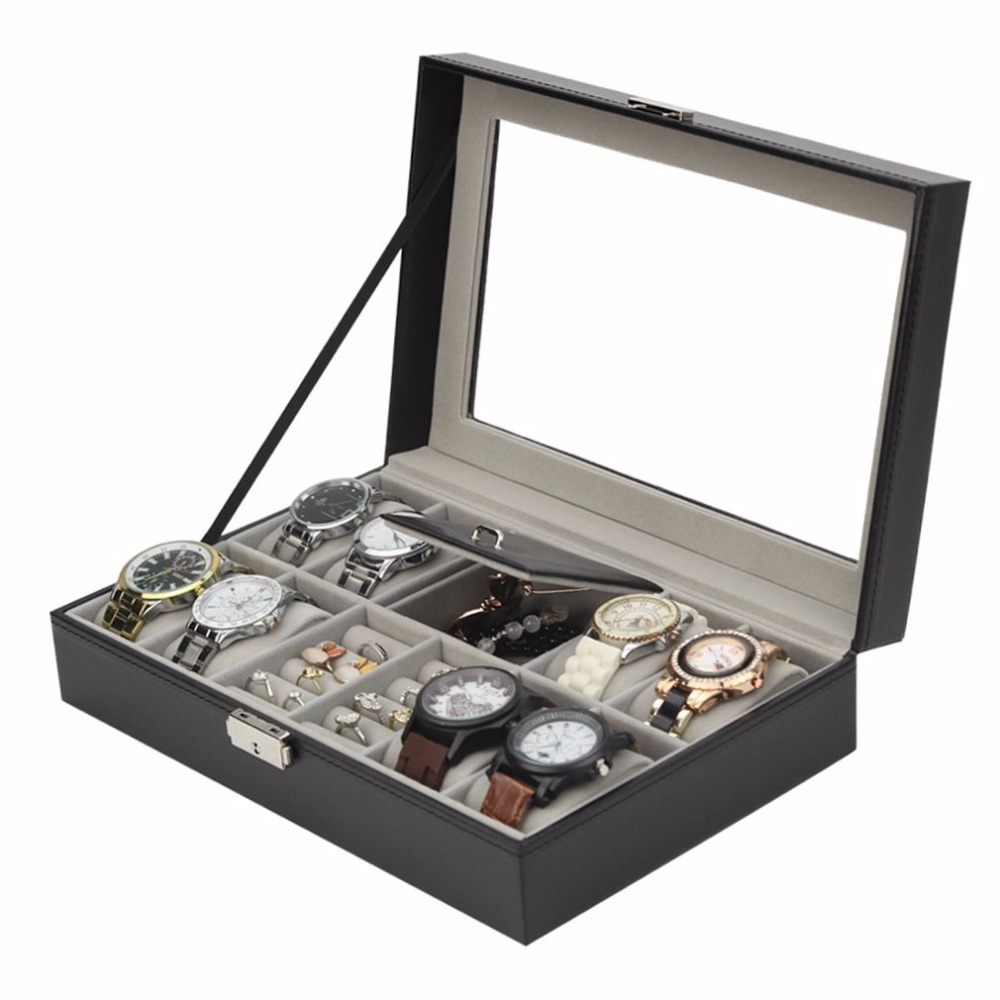 2018 HOT 2 In One 8 Grids+3 Mixed Grids Black Leather Watch Box Watch Rings Storage Organizer Jewelry Display Case multi grids desk storage organizer