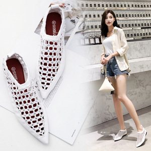 European luxury pointed toe flat hollow out single shoes woman famous brand breathable sandals girls novelty slip on shoes lady(China)