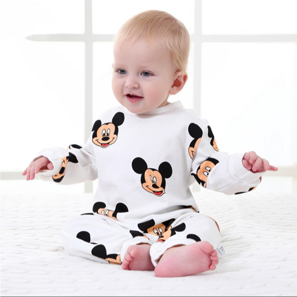 Newborn Infant Clothes Cartoon Mouse Baby Boy Rompers Long Sleeve Girls Clothing Cotton Baby Jumpsuits Roupas Bebes Kids Costume