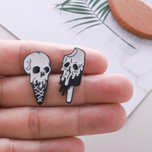 Skeleton Ice cream Ice lollies Enamel Pin Tiny Funny Cool Skull Halloween Pin Button Denim Shirt Bag Badges Brooch for Friends(China)