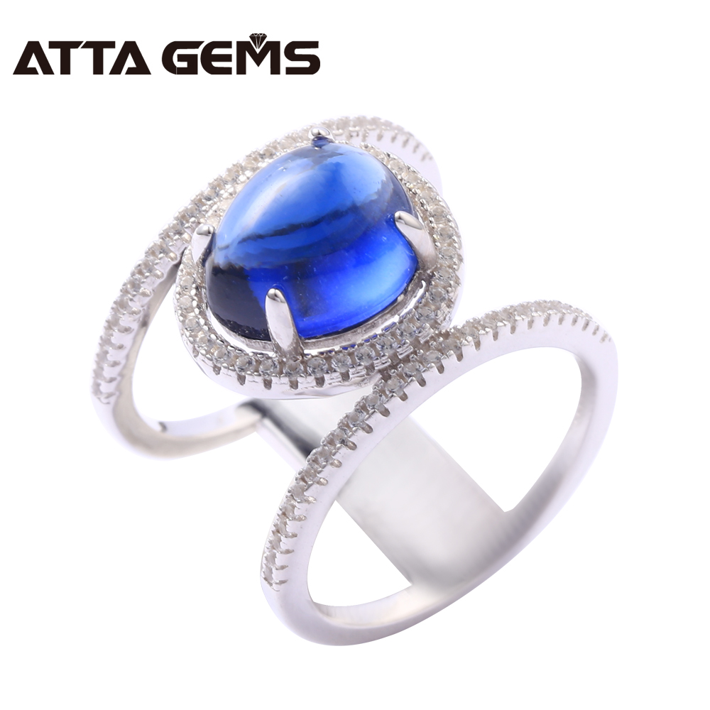 Blue Sapphire Solid Silver Ring for Women 5 Carats Created Sapphire Cabochon Cutting Women Party Silver Jewelry Special Jewelry blue sapphire silver bracelet for women tennis bracelet wedding party 15 carats 45 pieces created blue sapphire luxury style