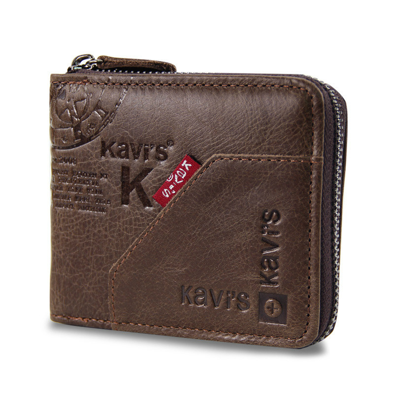 Fashion Small Male Purse Short Purse Men Letter Snap Fastener Zipper Short Clutch Solid Vintage Men's Wallet