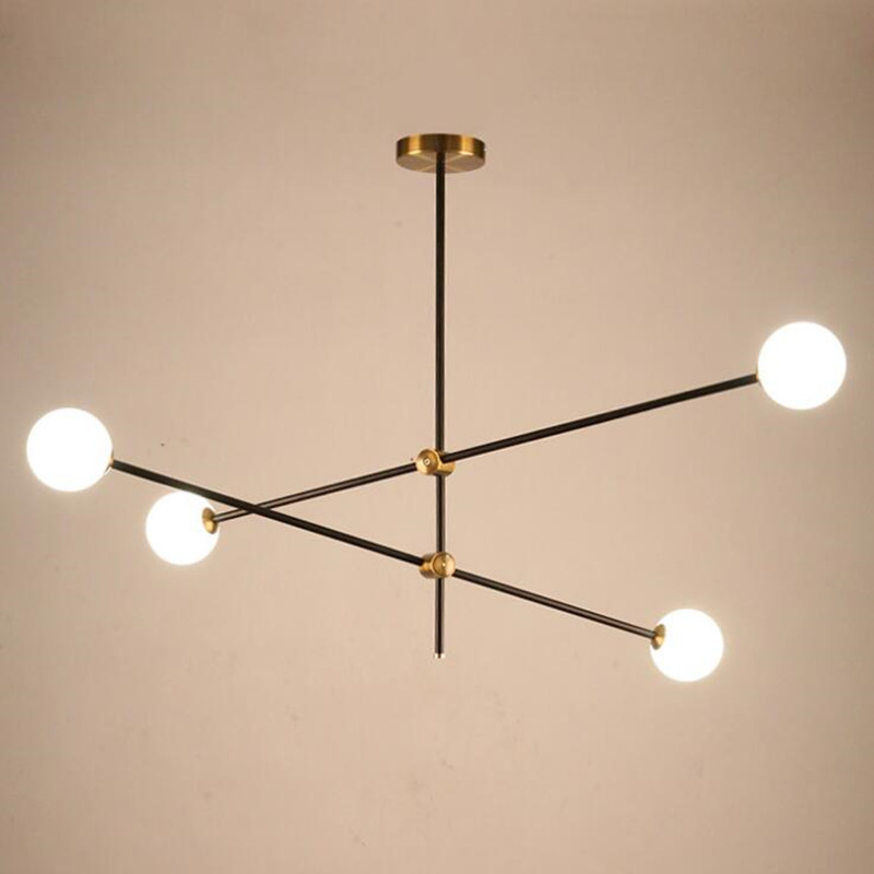 Nordic American Minimalist Adjustable Iron Glass Ball Chandelier Lights Creative Living Room Bedroom Personality Decor LED Lamps