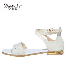 Daidiesha Stylish Size 33-43 Cross-tied strap Sandals Female's Solid Colors Shoes Ankle strap Genuine Leather Ladies Flat Shoes