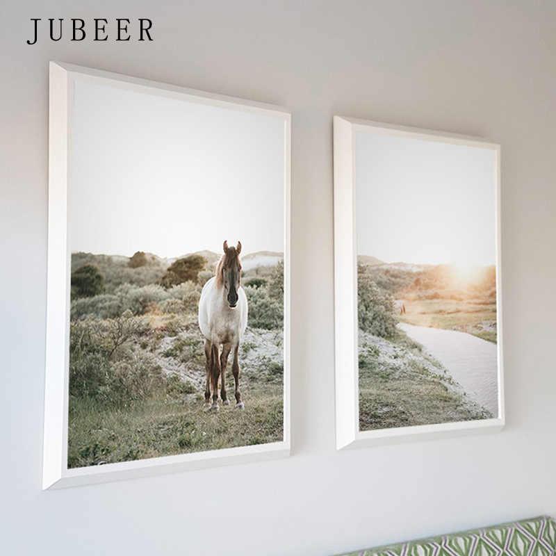 Украшение в скандинавском стиле, домашний конь, настенный художественный плакат, природный пейзаж, настенные картины для гостиной, Cuadros Decoracion Salon