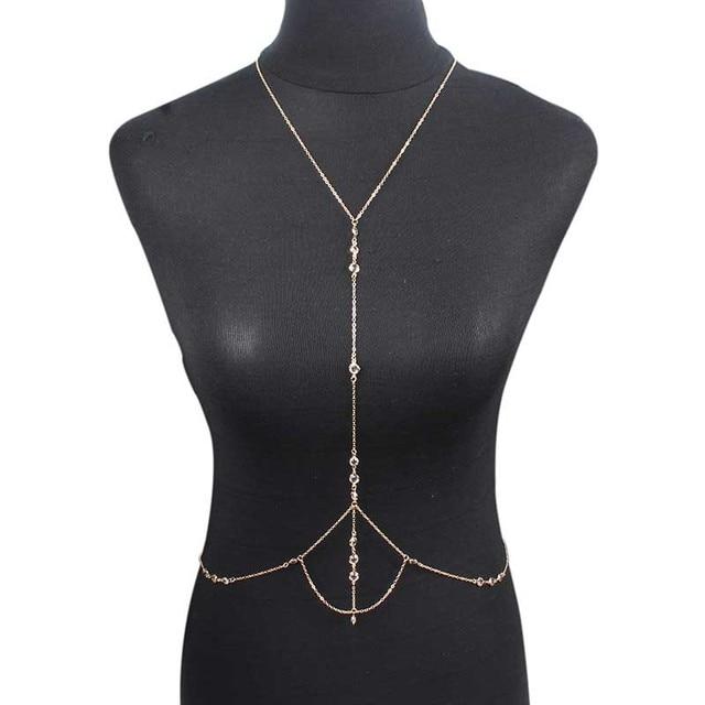 9810f954c884 Nuevo Boho cristal rhinestone cuerpo sexy cadena oro multi vientre cintura  arnés collar de cadena para