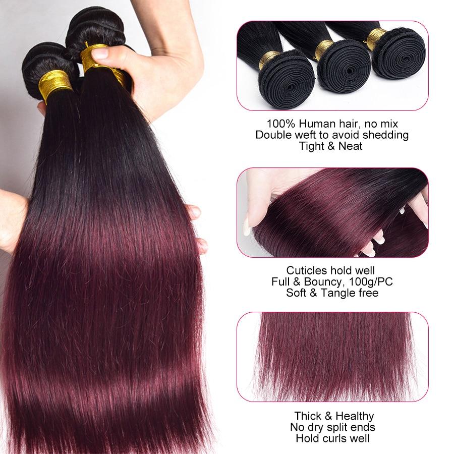 Wonder Girl Ombre Brazilian Straight Hair Bundles 1B 99J / Burgundy - Mänskligt hår (svart) - Foto 2