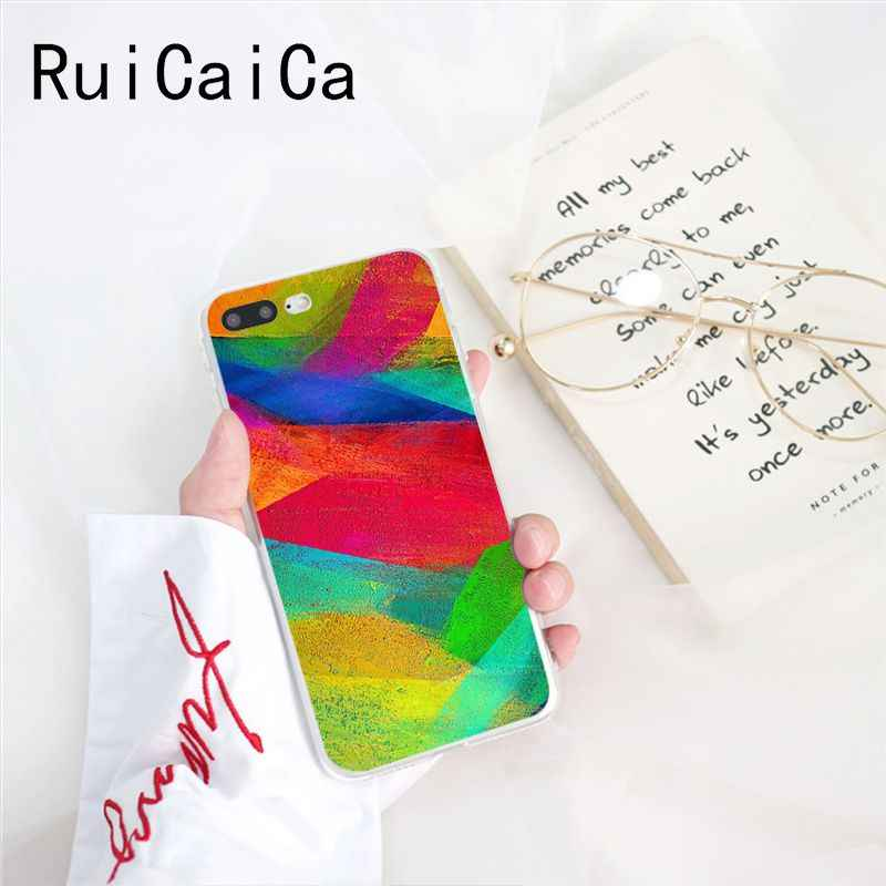 RuiCaiCa Colorful Watercolors Set Paint Palette TPU Soft Phone Case Cover for iPhone 8 7 6 6S Plus 5 5S SE XR X XS MAX 10