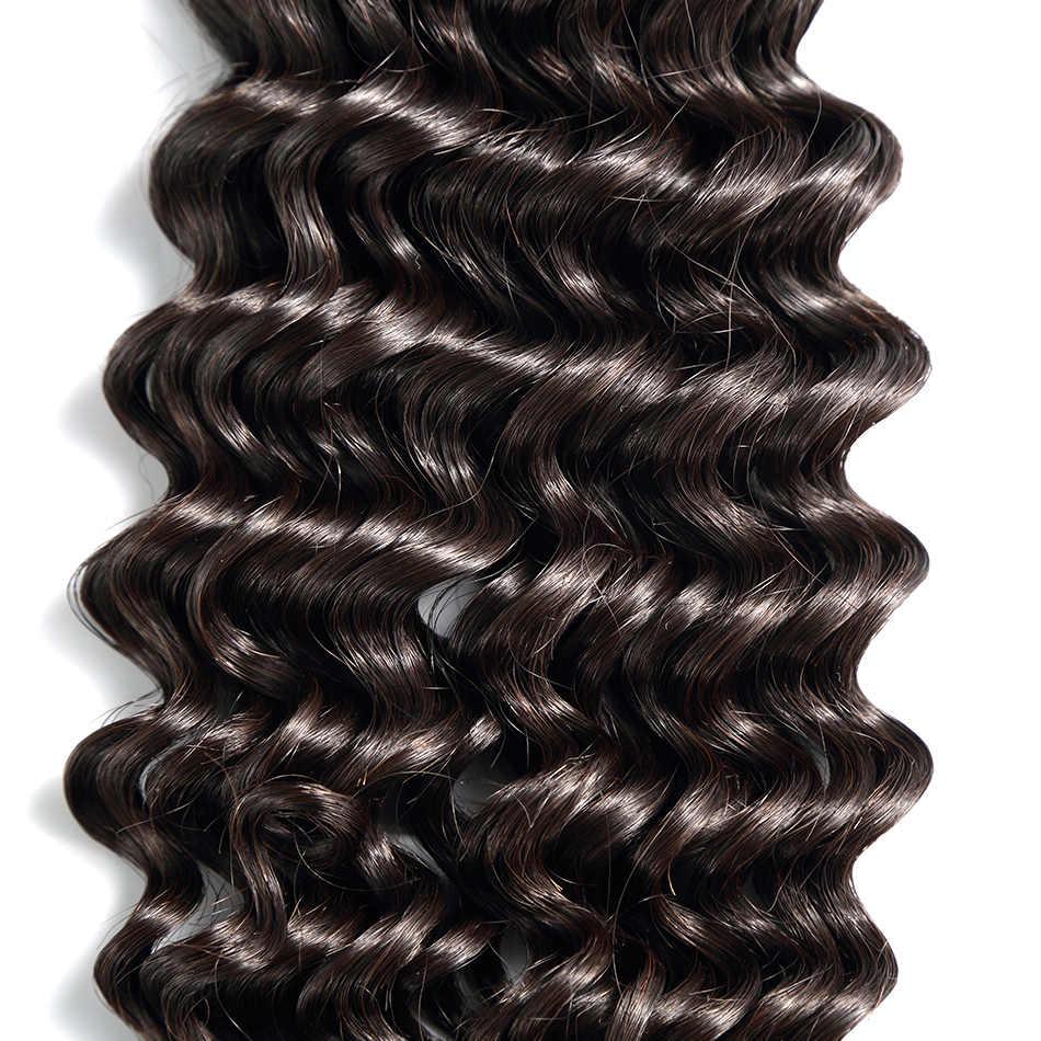 Cabello ILARIA paquetes de cabello virgen peruano onda profunda 1 Pc 100% extensiones de cabello humano rizado peruano Color Natural