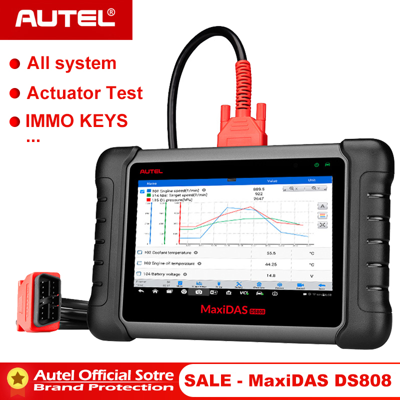 Autel Maxidas DS808 OBD2 Automotive Scanner OBD 2 Car Diagnostic Tool OBDII Code Reader Injector Coding Key Programming PK MS906-in Engine Analyzer from Automobiles & Motorcycles