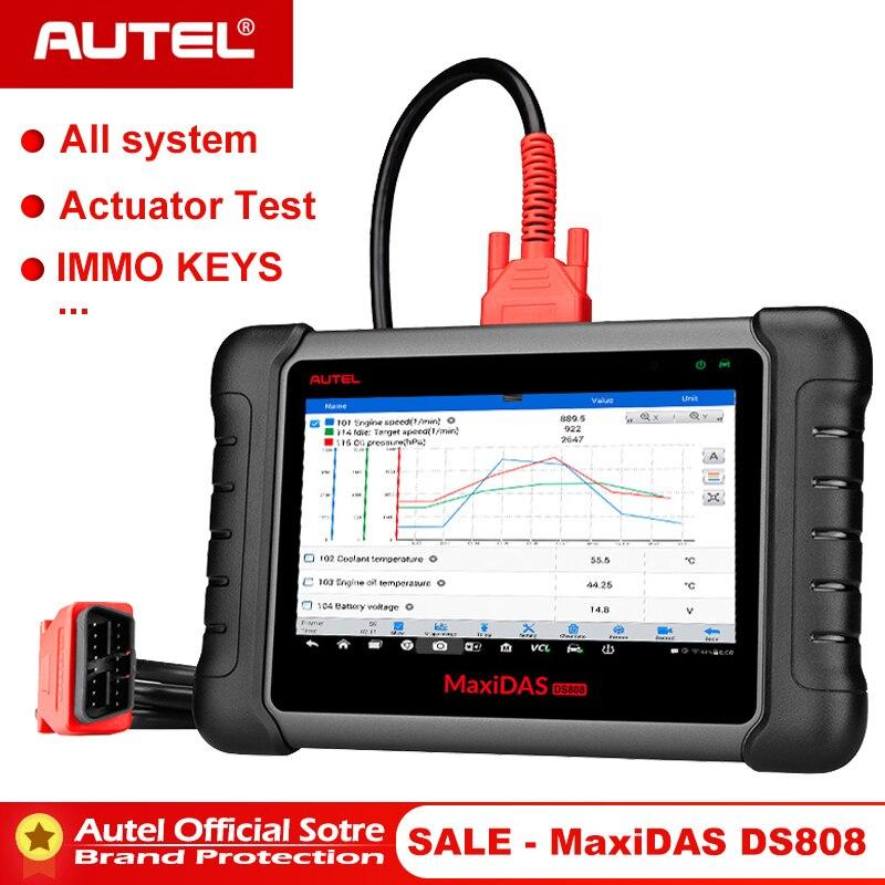 Autel Maxidas DS808 OBD2 автомобильный сканер OBD 2 Автомобильный диагностический инструмент OBDII считыватель кодов Инжектор Кодирование ключа программирования PK MS906-in Анализатор двигателя from Автомобили и мотоциклы