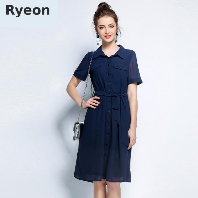 Ryeon 5xl Plus Size Shirt Summer Women Dress Navy Blue A Line Short Sleeve  Chiffon Tunic Beach Holiday Big Size Dresses 40a179b2a270
