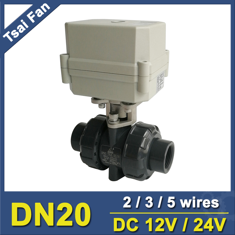2/3/5 Wires DC12V/24V PVC 3/4'' DN20 Electric Motorized Ball Valve With Signal Feedback TF20-P2-C 10NM On/Off 15 Sec tf20 s2 c high quality electric shut off valve dc12v 2 wire 3 4 full bore stainless steel 304 electric water valve metal gear
