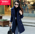 free shipping 2014 new women autumn winter fashion slim woolen coat casual British style medium long double breasted coat M0037