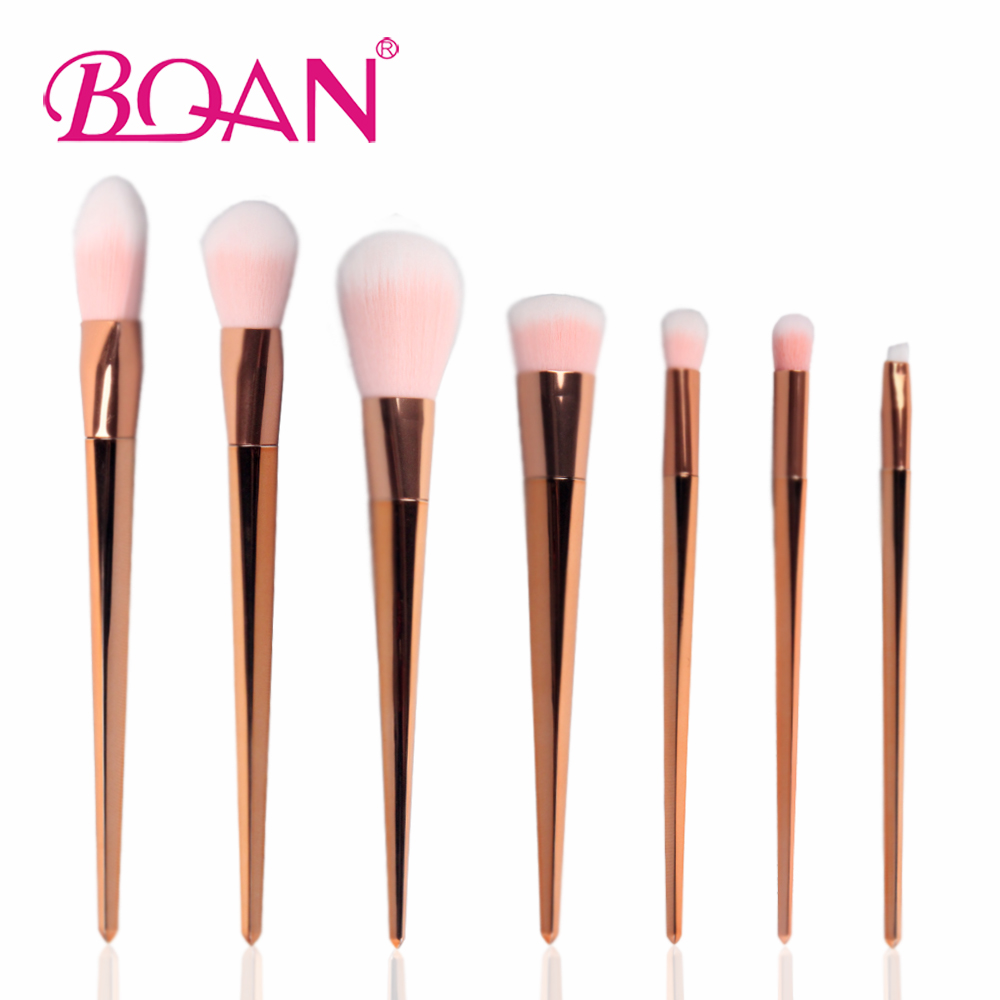 BQAN 7Pcs/Set Rose Gold Makeup Brush Set Sythetic Unicorn Design Powder Foundation Eyeshadow Lip Brush Kit Cosmetic Tools new lcbox professional 16 pcs makeup brush set kit pouch bag cosmetic brush kit cosmetic powder foundation eyeshadow brush tools