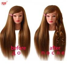Tête de Manequin professionnelle avec 85% cheveux humains en or pour coiffure de coiffeur Kappershoofd tête d'entraînement de poupée de coiffeur