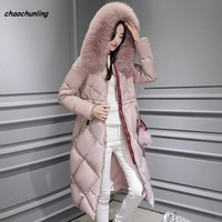 Korea New Style 2018 New Winter Lady Long hooded Jacket With Real Fur Women Fashion Super Warm Coats Pink and Green 2Colors