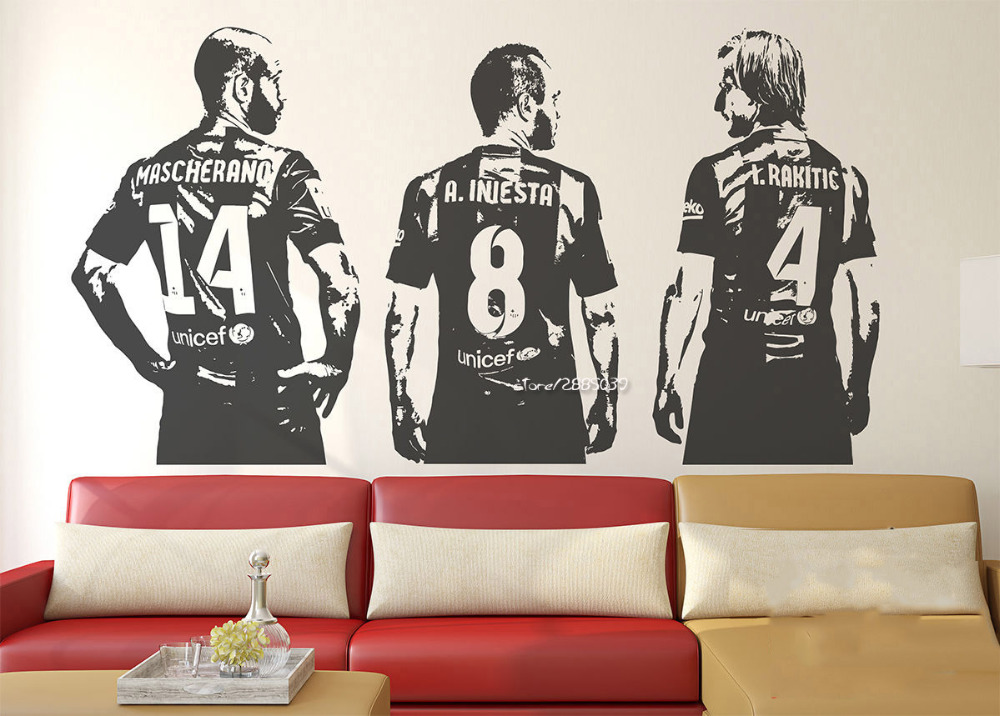 Mascherano Rakitic Iniesta Wall Stickers Football Lovers Home Decor Wall Decal 3d Poster Decoration Boys Teens