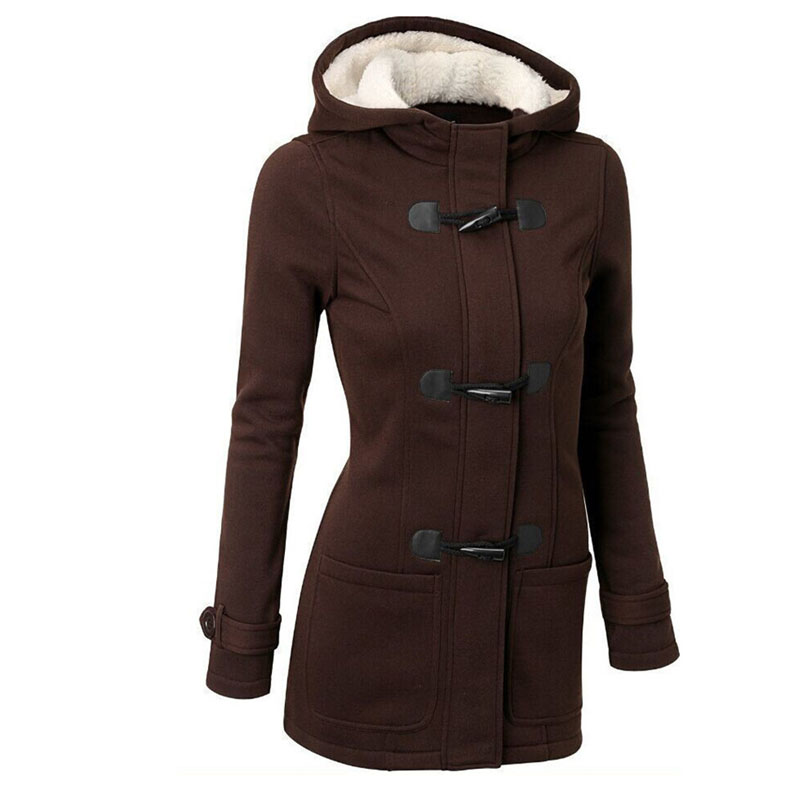Women   Trench   Coat Plus Size 2018 Women's Windbreaker Female Coats Long Hooded Zipper Button Autumn Winter Outwear Clothes