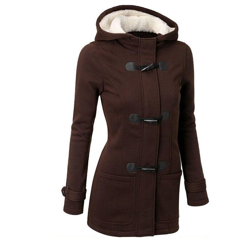 Women   Trench   Coat Plus Size 2018 Women's Windbreaker Female Coats Long Hooded Zipper Button Autumn Winter Outwear Clothes