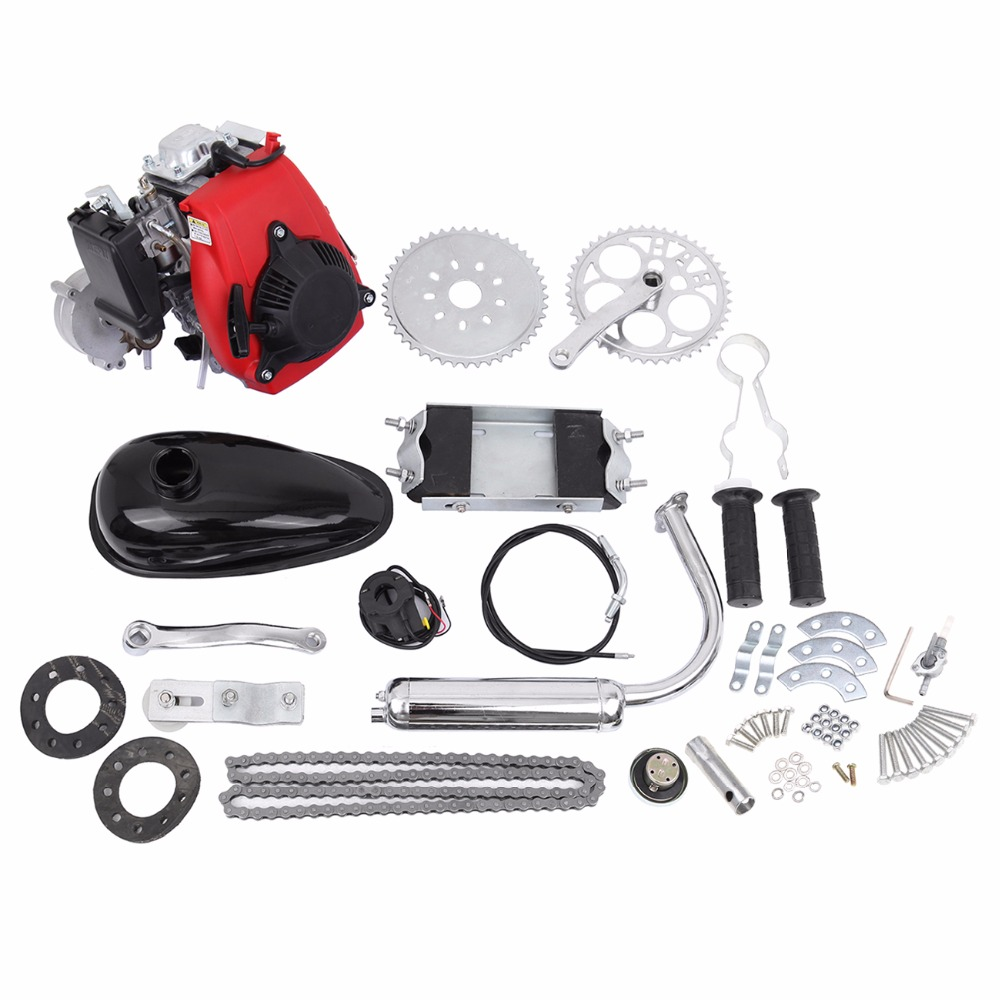 (Ship from USA) 49cc 4 Stroke Cycle Motor Kit Motorized Bike Petrol Gas Bicycle Engine set ship from usa 2 stroke 80cc motor blike bicycle engine kits gas bike kit c80 with suitable price